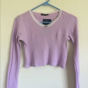 Brandy Melville lilac Sonia rose thermal top